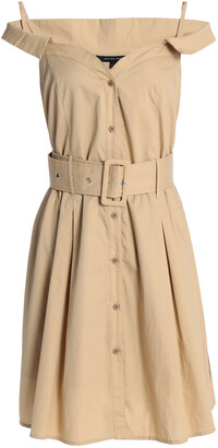 W118 By Walter Baker Simpson Cold-shoulder Belted Cotton-poplin Shirt Dress