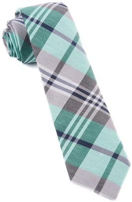 Tie Bar Crystal Wave Plaid Mint Tie