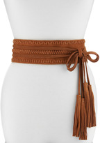 Linea Pelle Summer Suede Double-Wrap Belt, Whiskey