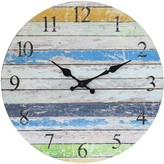 Stonebriar Collection Vintage Farmhouse Worn Blue, Green, and White 14 Inch Round Hanging Wall Clock