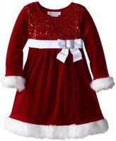 Bonnie Jean Girls Glitter Velvet Sequin Christmas Holiday Dress, 24M
