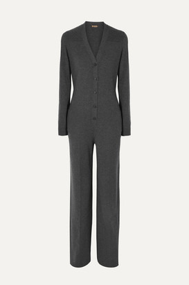Loro Piana Leather-trimmed Cashmere Jumpsuit - Gray