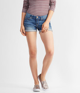 Medium Wash Cuffed Denim Midi Shorts