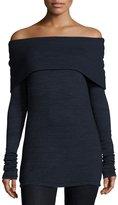 Three Dots Alexandra Off-the-Shoulder Long-Sleeve Top, Night Iris