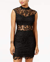 B. Darlin Juniors' Mock-Neck Illusion-Lace Bodycon Dress
