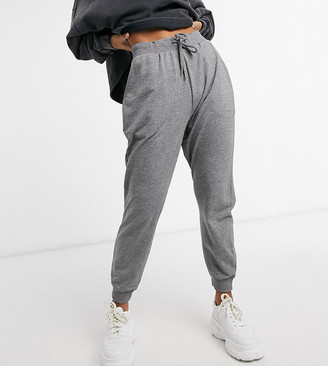 ASOS DESIGN Petite basic jogger with tie in organic cotton in charcoal marl