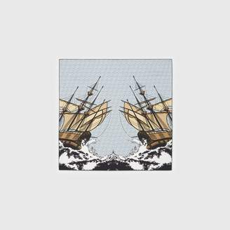 Burberry Ship Print Silk Twill Square Scarf