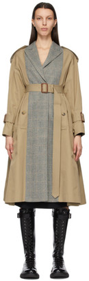 Alexander McQueen Beige Spliced Trench Coat