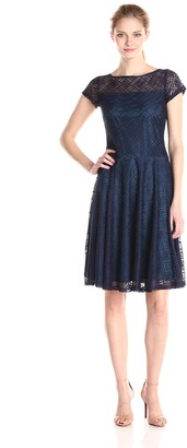 Sangria Women's Short Sleeve Lace Fit and Flare Dress
