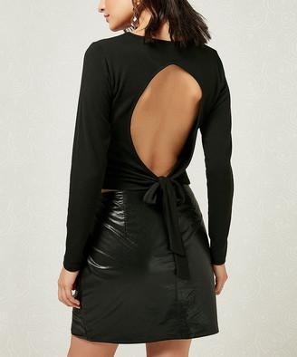 Milan Kiss Women's Blouses BLACK - Black Cutout Tie-Back Scoop Neck Top - Women