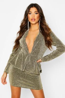 boohoo Peplum Structured Glitter Dress