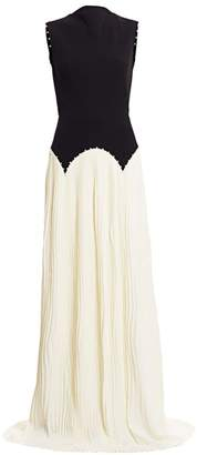 Lela Rose Mockneck Bi-Color Pleated Skirt Gown