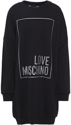 Love Moschino Appliqued French Cotton-terry Mini Dress