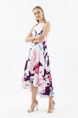 Coast Seamed Printed Hi Low Twill Dress