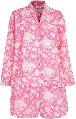 Nologo Chic Hand Printed Shorts Pj'S - Cotton - Hibiscus Pink