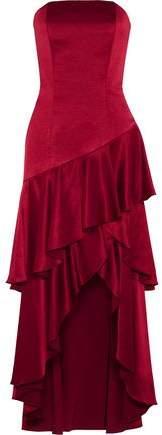 Alice + Olivia Darcey Asymmetric Ruffled Satin Gown