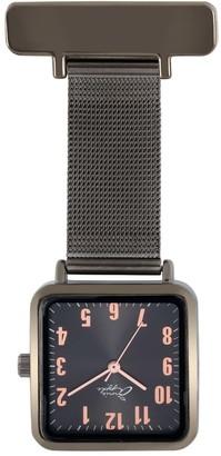 Bermuda Watch Company Annie Apple Square Rose Gold & Gunmetal Mesh Nurse Fob Watch