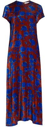 La DoubleJ Edition 22 Floral Velvet Sable Silk-Blend Swing Dress