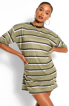 boohoo Stripe Oversized T-shirt Dress