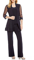 R & M Richards Mesh-Inset Mock 3-Piece Pant Set