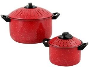 Gibson Casselman 4 Piece Nonstick Pasta Pot Set in Red with Bakelite Handle-Knob
