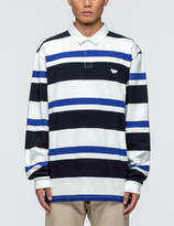MAISON KITSUNÉ Irregular Stripes L/S Polo Shirt