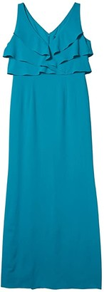 Adrianna Papell Ruffle Crepe Gown (Light Teal) Women's Dress