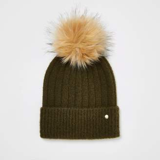 River Island Womens Khaki faux fur pom pom knitted beanie hat