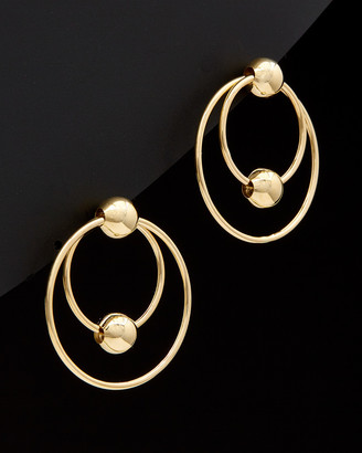 Italian Gold 14K Graduated Circle Beaded Drop Earrings