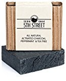 Activated Charcoal Soap for Men with Peppermint and Tea Tree - 5th Street Skin & Shave - Natural, Anti-Fungal, Organic Body and Face Wash - Reduces Mens Acne, Blemishes, Breakouts for Clearer Skin