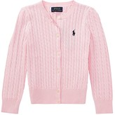 Polo Ralph Lauren Cable Knit Cotton Cardigan (Toddler) (Hint of Pink/Nevis Pony Player) Girl's Sweater