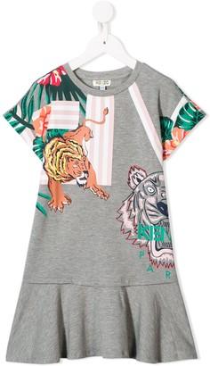 Kenzo Kids Tiger Jungle print babydoll dress