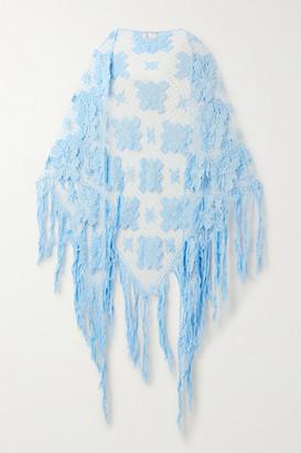 Miguelina Majandra Fringed Crocheted Cotton Shawl - Light blue