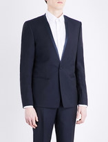 The Kooples Satin-trim slim-fit wool and mohair-blend jacket