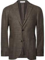 Boglioli Brown Slim-Fit Mélange Wool And Linen-Blend Blazer