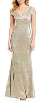 Calvin Klein Cold-Shoulder V-Neck Cap Sleeve Metallic Gown