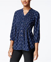Charter Club Petite Anchor-Print Pintucked Shirt, Only at Macy's