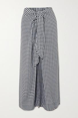 Ganni Tie-front Checked Crepe Midi Skirt - Navy