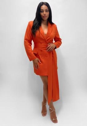Missguided Plus Size Orange Tailored Blazer Dress