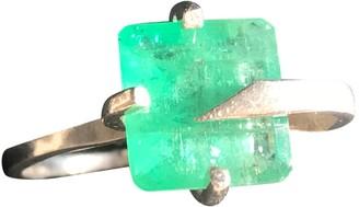 Non Signã© / Unsigned Emeraude Green Silver Rings