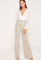 Missguided Crinkle Wide Leg Pants Gold
