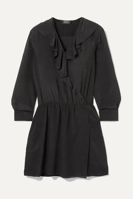 A.P.C. Ada Ruffled Silk-chiffon Wrap Mini Dress - Black