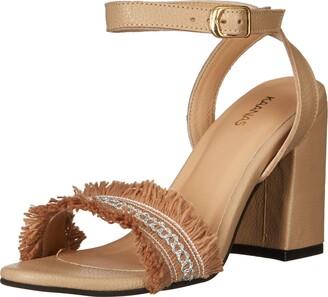 Kaanas Women's IMBROS Heeled Ankle Strap Open Toe Frayed Sandal Shoe