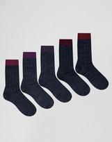 Asos Rib Boot Socks In Navy 5 Pack