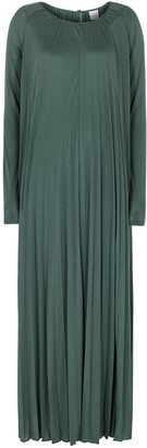 MAX MARA LEISURE Dolores Green Pleated Jersey Dress