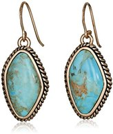 Barse Basics Genuine Turquoise Abstract Drop Earrings