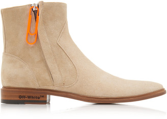 Off-White Zip-Detailed Suede Ankle Boots