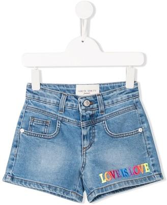 Alberta Ferretti Kids Love Is Love Denim Shorts