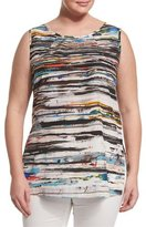 Marina Rinaldi Biacca Striped Tank W/ Attachable Sleeves, Plus Size