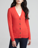 Tory Burch Simone Merino Cardigan, Cherry Wine